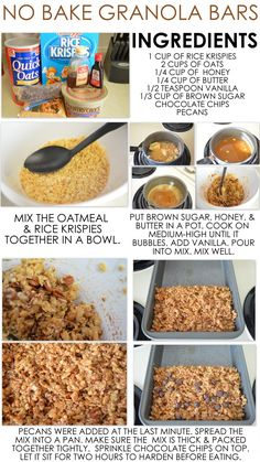 Chocolate Chip Granola Bars No Bake Granola Bars- so good and super easy! Next time I'll add peanut butter thoughNo Bake Granola Bars- so good and super easy! Next time I'll add peanut butter though No Bake Granola Bars, Granola Bar Recipes, Chewy Granola Bars, Healthy Homemade Granola Bars, Granola Bar Recipe Easy, Healthy Snack Bars, Cheap Healthy Snacks, Granola Bites, Snacks Homemade