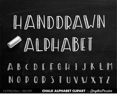ALPHABET Chalkboard Clipart Digital Chalk Alphabet Clip Art Hand Drawn Chalk…