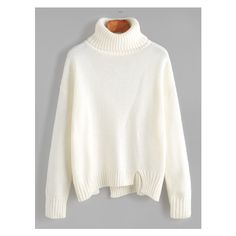 White Roll Neck Drop Shoulder Asymmetric Hem Sweater (14 AUD) ❤ liked on Polyvore featuring tops, sweaters, drop shoulder sweater, rollneck sweaters, asymmetrical hem sweater, roll neck sweater and asymmetrical hem top