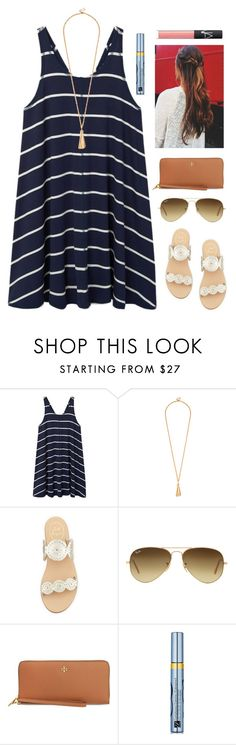 """""""Simple"""" by fashionableswimmer ❤ liked on Polyvore featuring MANGO, Jack Rogers, Ray-Ban, Tory Burch, Estée Lauder and NARS Cosmetics"""