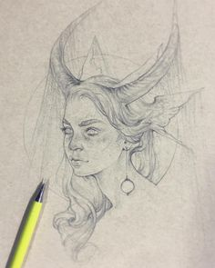 """Really quick, on spot commission at The prompt was """"girl with horns"""" (figured that was in my realm of doability lol) Was fun working on brown paper for a change! Pretty Art, Cute Art, Photographie Portrait Inspiration, Arte Obscura, Arte Sketchbook, Wow Art, Sketch Inspiration, Art Drawings Sketches, Aesthetic Art"""