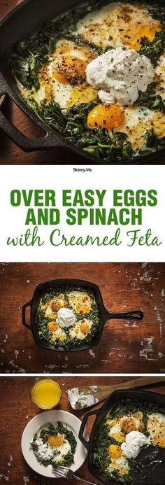 A simple, clean, nutrient packed breakfast--Over Easy Eggs with Spinach and Creamed Feta!