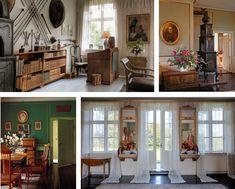 Karen Blixen's home, Rungsted, Denmark. Arbejdsværelse, Ewalds Stue. Den grønne Stue og vinduesparti i spisestue.