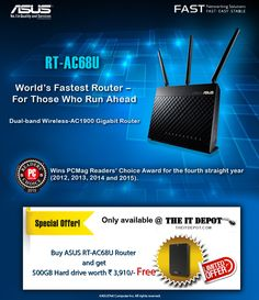 Buy Asus RT-AC68U Router & get 500GB harddrive worth rs. 3910/- free Only available @ theitdepot.com  https://theitdepot.com/details-Asus+RT-AC68U+Dual-band+Wireless+-+AC1900+Gigabit+Router_C34P21102.html