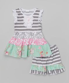 Gray & Pink Floral Dress & Shorts - Infant & Toddler   zulily