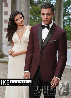 """<h5 style=""""text-align: center;"""">New for Spring 2016!</h5> <p style=""""text-align: justify;"""">In response to red carpet looks and sharp dressing professional sportsmen, Ike Behar has made the burgundy 'Marbella' slim fit tuxedo! It features contrasting black satin peak lapels and a one button front and is made from luxurious super 120's wool. Matching trousers and vest are available, if you dare!</p>"""