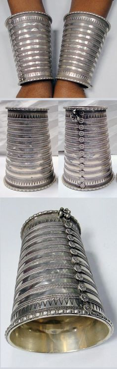 India ~ Rajasthan | Pair of solid silver pair of bracelets (upper arm) | ca. early to mid 20th century | 1'999$ for the pair