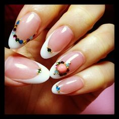 blingy rhinestones and deep smile line nail art