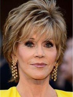 Elegant Jane Fonda Oscar Hairstyle Short Layered Straight Full Lace Wig 100% Human Hair Original Price: $790.00 Latest Price: $251.59
