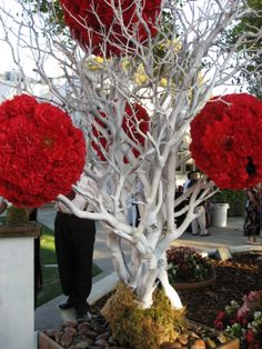 Manzanita trees painted white with carnation + dahlia pomanders woven between the branches. By Weddingbee