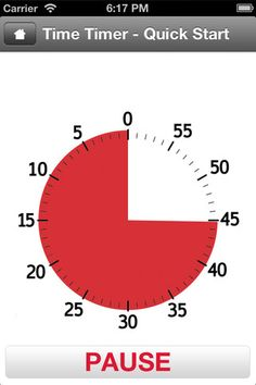 The Time Timer app displays time as a red disk that quietly gets smaller as time elapses.
