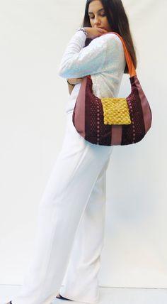 medium shoulder bag with design, purple and orange purse