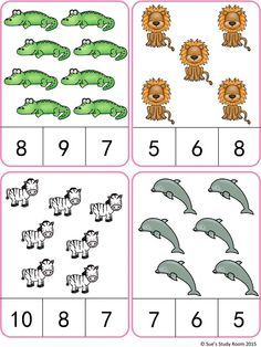 Animals Count and Clip Cards (Numbers by Sue's Study Room Counting Activities, Preschool Learning Activities, Teaching Math, Preschool Activities, Learning Numbers, Math Numbers, Math Gs, Montessori Math, Kindergarten Math Worksheets