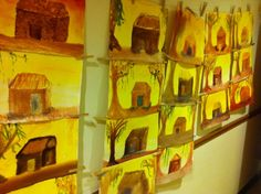 3rd grade ~ shelter block ~ wet-on-wet watercolor paintings