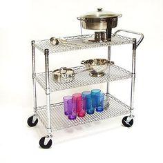 3-Shelf Utility Cart Commercial Heavy-Duty Metal Wheeled Storage Organizer 500lb #3ShelfUtilityCart