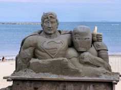 Top Ten Geeky Sandcastles and Sand-Sculptures - Superman and Iron Man: Men of Steel...or Men of Sand? #4