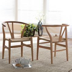 Baxton Studio Wishbone Modern Brown Wood Dining Chair with Light Brown Hemp Seat