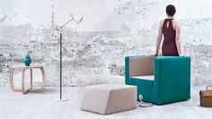 decube Chair Armchair Tied to Its Pouf by a Rope: Decube Furniture Project