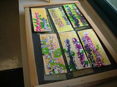@Jennifer Milsaps L Gibson great results for little one chalk and oil pastel, paint and thumb print flowers.