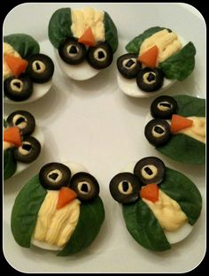 Devilish Owls: For a cute, protein-packed snack, whip up some deviled-egg owls.  Source: Rook No. 17