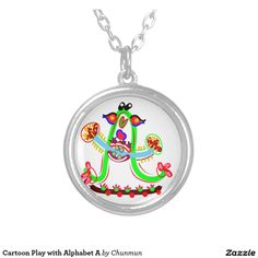 Cartoon Play with Alphabet A Round Pendant Necklace
