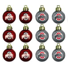 Ohio State Buckeyes 12-Pack Team Logo Mini Ornaments