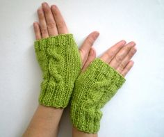 Cable Knit Sparkling Green Fingerless Gloves by bysweetmom on Etsy, $24.00