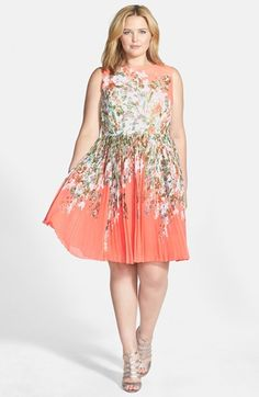 Adrianna Papell Floral Print Pleat Chiffon Fit & Flare Dress (Plus Size)   Nordstrom