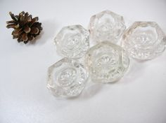 Set of 5 open salts / Pressed glass / Art Deco era / collection / wedding decoration / clear / Thanksgiving dinner table / home decor