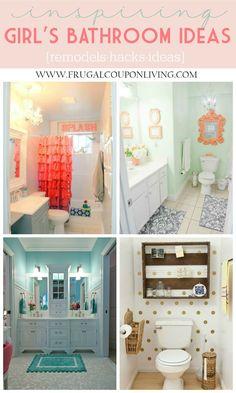 Girls Bathroom Ideas - Inspiring Kids Bathrooms - Decorations, Remodels and Hacks on Frugal Coupon Living. Bathroom Hacks. Bathroom DIY. Bathroom Upgrades
