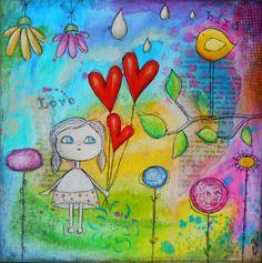 """""""Love and bird"""" Tableau original, mixed média"""