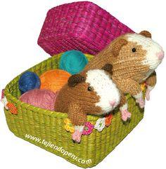 Cómo tejer un cuy o guinea pig en dos agujas o palitos! (knitted guinea pig tutorial)