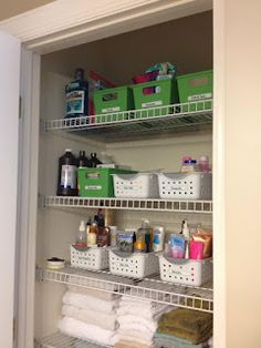 Project Organize Your ENTIRE Life Quick Tip Baskets Organizing - Bathroom closet organization ideas