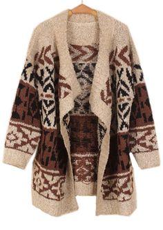 Apricot Long Sleeve Asymmetrical Geometric Cardigan Sweater