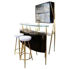 Posh Italian 1950s Mohogany Bar Counter, Cupboard and Stools Set   From a unique collection of antique and modern dry bars at https://www.1stdibs.com/furniture/storage-case-pieces/dry-bars/