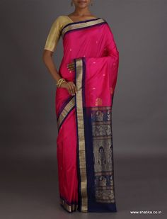 Pinky Dark Pink And Navy Blue Intricate #SambalpuriSilkSaree