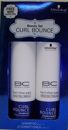 Schwarzkopf Curl Bounce Shampoo and Conditioner Set by Schwarzkopf. $20.00. 6.8 oz Conditioner. Free Mini Clutch Bag!. 8.5 oz Shampoo. Shampoo gently cleanses curly and wavy hair providing bounce and shine without overburdening. Balances and restores the moisture content of curly, wavy hair, leaving it with a soft, satin feel. Amino Cell Rebuild Technology restores the hair's natural elasticity and rebuilds the hair structure from within. For strong and manageable hair f...