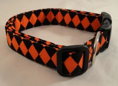 This collar is perfect for any time of the year! Black and Orange Harlequin Dog Collar! SO COOL!