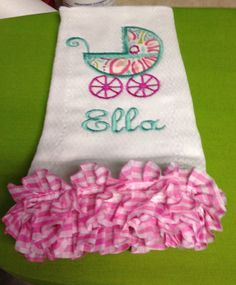 We love to help with gift giving or welcome new little ones to the world!  Burp cloth embroidery or monogrammed pieces range from $12-15. We offer custom embroidery for all types of items.