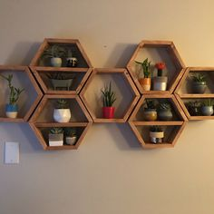 Hexagon shelves on wall Honeycomb for bathroom nursery shelf decor wood home wall art decor all natural without brackets white Unique Wall Shelves, Deep Shelves, Hanging Shelves, Wall Shelving, Shelving Ideas, Honeycomb Shelves, Hexagon Shelves, Home Wall Art, Wall Art Decor