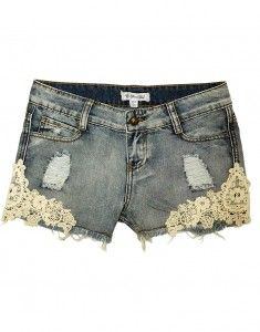Semi high waisted jean shorts with crochet sides. Sooo cute!