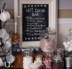 coffee bar display ideas - Google Search Office Xmas Party, Office Christmas, Christmas Hot Chocolate, Hot Chocolate Bars, Party Food And Drinks, Fun Drinks, Bar Displays, Display Ideas, Winter Party Themes