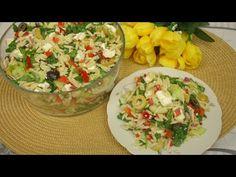 Rewelacyjna Sałatka z Makaronem Orzo szpinakiem i serem feta - Przepyszna sałatka makaronowa - YouTube Guacamole, Mexican, Feta, Ethnic Recipes, Mexicans