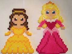 For all my mascot friends! Perler Bead Disney Princesses Belle and Aurora by PerlerDesignsbyKatie Melty Bead Patterns, Perler Patterns, Beading Patterns, Hama Beads Disney, Perler Bead Templates, Peler Beads, Iron Beads, Melting Beads, Beaded Cross Stitch