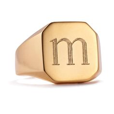 Initial signet rings hold a special place in our hearts and this one is exclusive to us and takes on design cues from classic men's pinky rings.