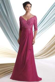 Brides: Montage by Mon Cheri. Classic, V-neck, A-line chiffon gown with three-quarter length sleeves, and floor length hemline.