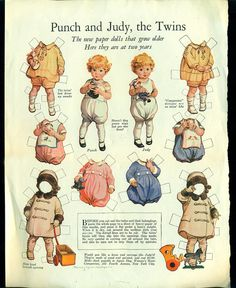 Antique 1924 Magazine Uncut Paper Doll Punch and Judy the Twins Frances Tipton Hunter