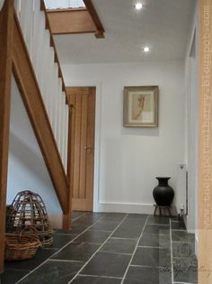 white walls, grey natural slate floor tiles and new oak - The Paper Mulberry: My New Home Foyer Flooring, Slate Flooring, Slate Tiles, Oak Doors, Wooden Doors, Hallway Decorating, Staircase Design, White Walls, Ideal Home