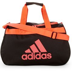Adidas Black & Neon Tangerine Diablo Small Duffel ($9.99) ❤ liked on Polyvore featuring bags and luggage