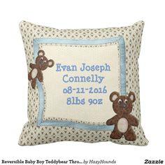 Reversible Baby Boy Teddybear Throw Pillow